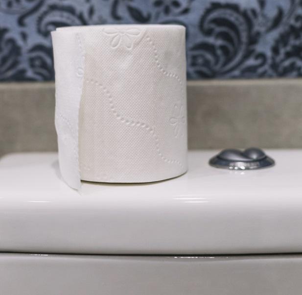 Туалетная бумага на бачке унитаза