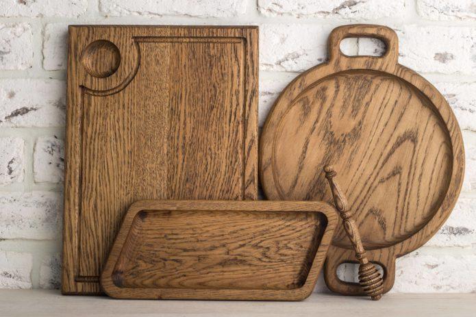 набор деревянных разделочных досок