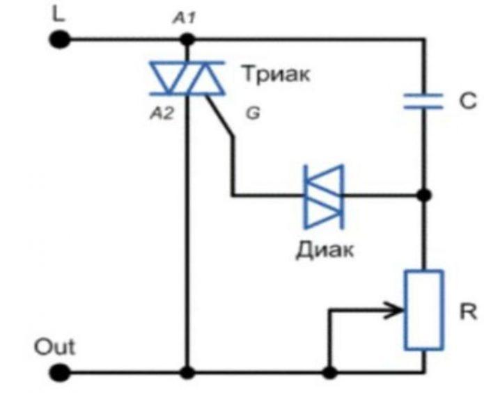Схема регулятора на симисторе